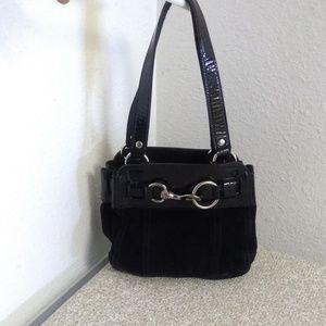Miu Miu Black Italy Suede Patent Leather Trim Bag